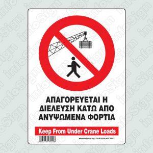 Απαγορεύται η διέλευση κάτω απο ανυψωμένα φορτία / Keep from under crane loads