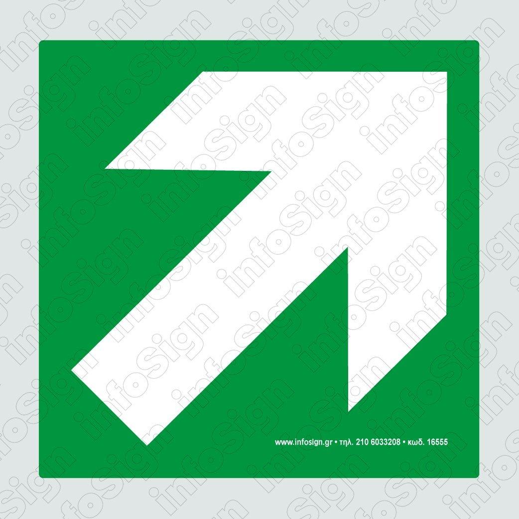 Έξοδος Κινδύνου (Με γωνιακό βέλος) / Emergency Exit (Angled Arrow Direction)