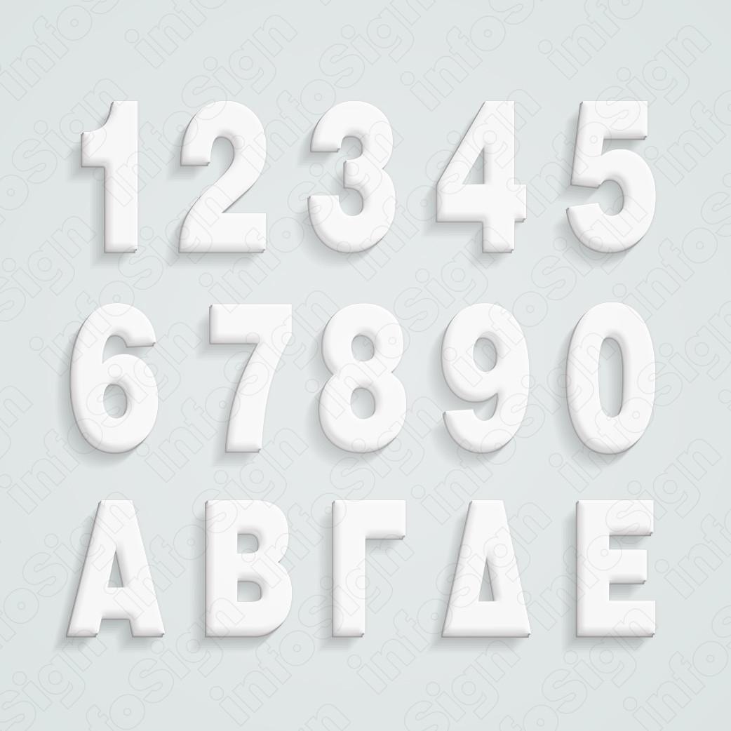 Γράμματα και Αριθμοί από Λευκό Plexiglas